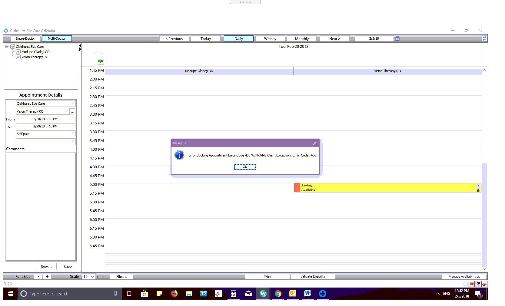Appointment Book Error Code (406) \u2013 Wink Technologies Inc